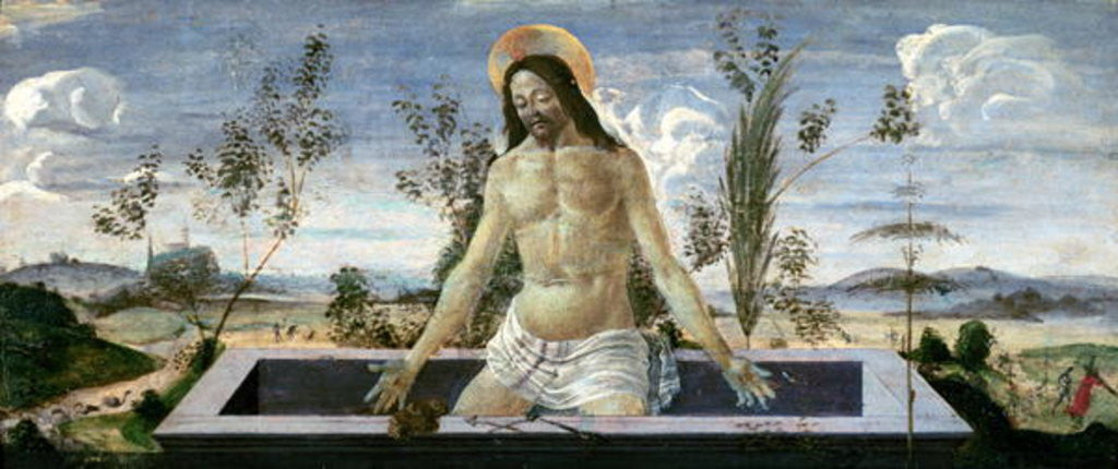 Detail of Predella panel depicting the Resurrection by Sandro Botticelli