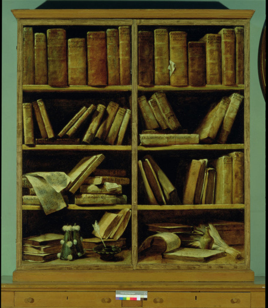 trompe l 39 oeil of a bookcase posters prints by giuseppe maria crespi. Black Bedroom Furniture Sets. Home Design Ideas