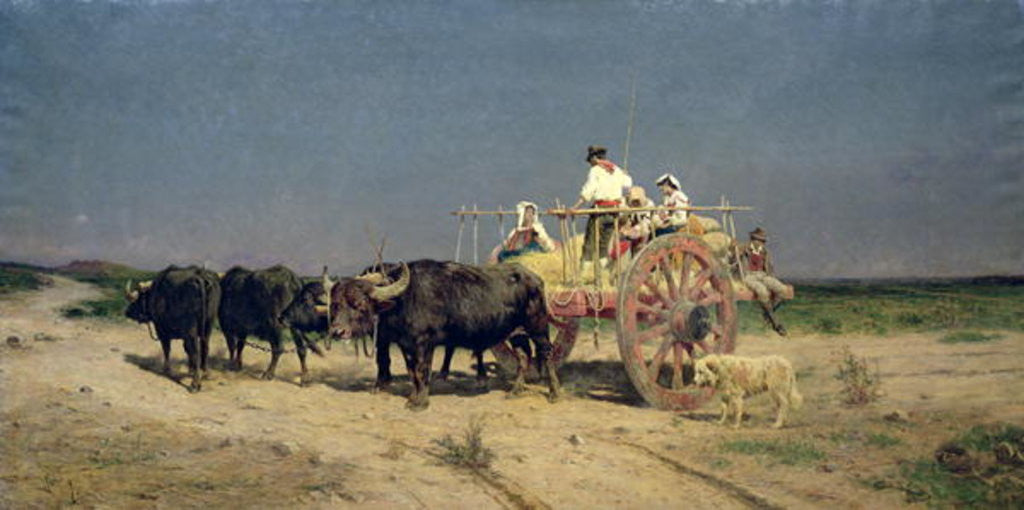 Detail of Wagon with Buffalo by the Beach by Aurelio Tiratelli