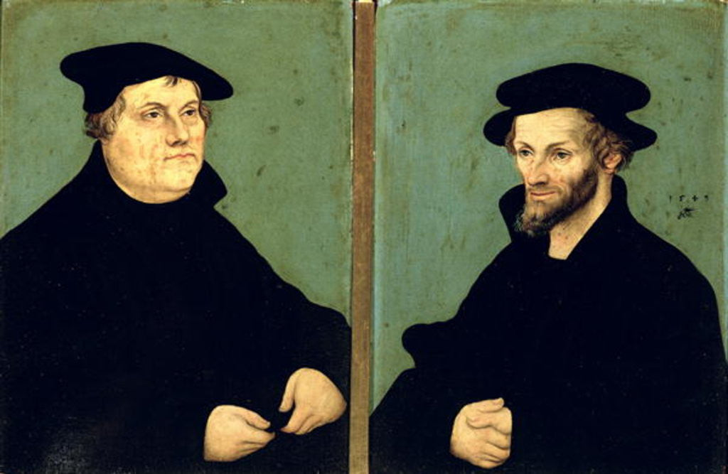 Detail of Double Portrait of Martin Luther and Philipp Melanchthon by Lucas