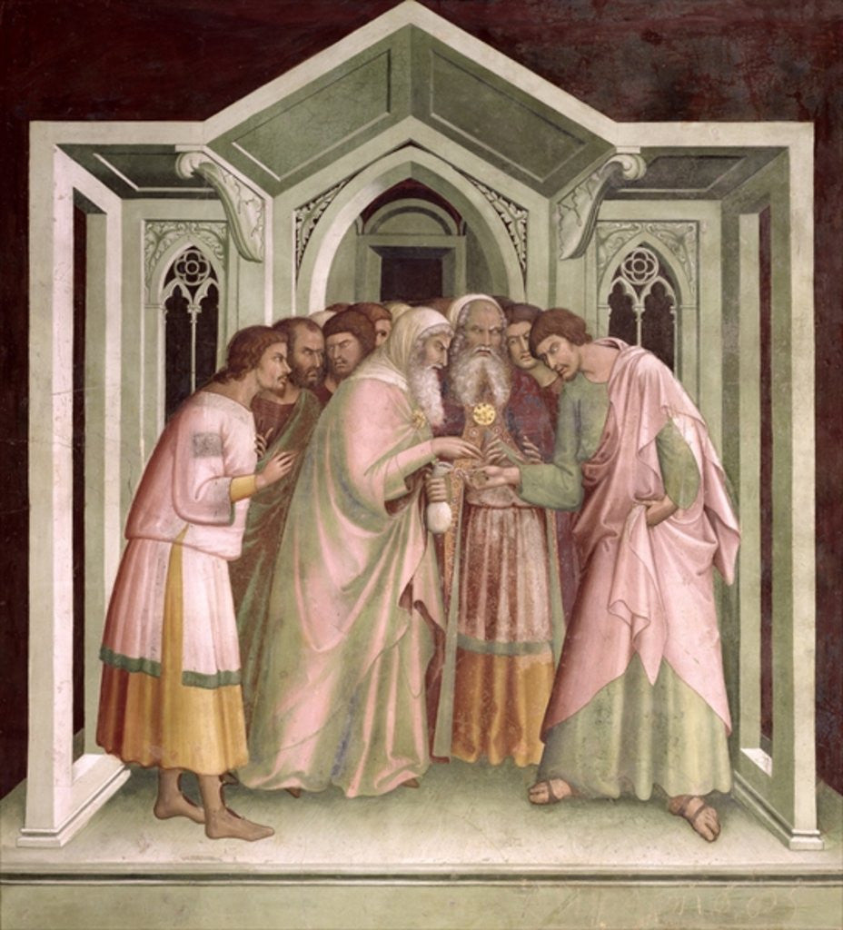 Detail of Judas Receiving Payment for his Betrayal by Barna da Siena