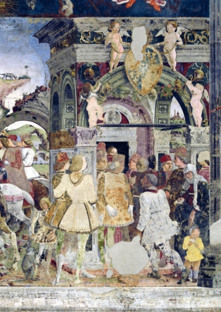 Detail of Borso d'Este, Prince of Ferrara, rendering justice: March from the Room of the Months by Francesco del Cossa