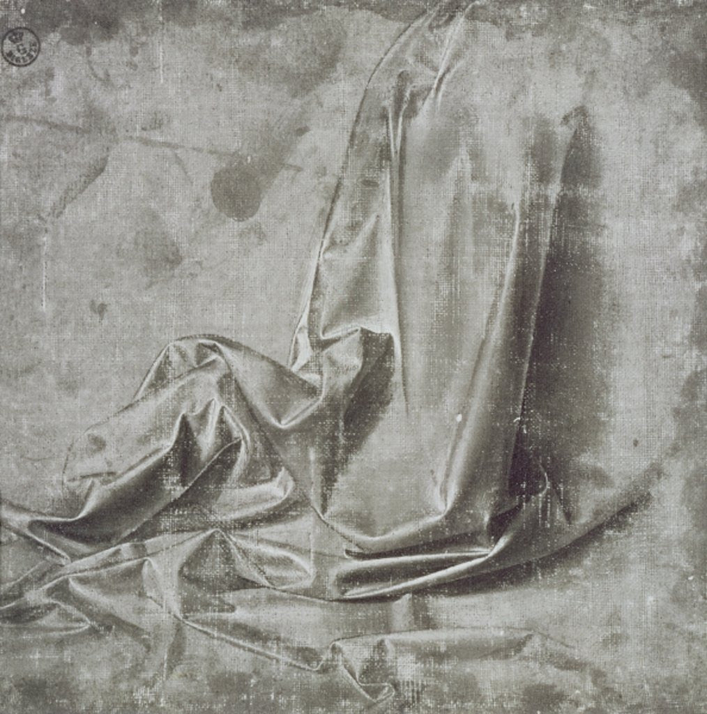 Detail of Drapery study for a kneeling figure in Profil Perdu to the right by Leonardo da Vinci