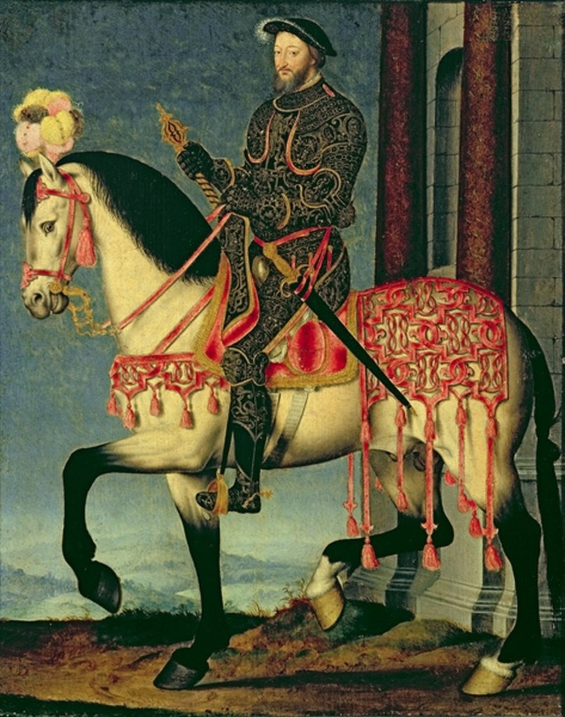 Detail of Equestrian portrait of Francis I of France by Francois Clouet