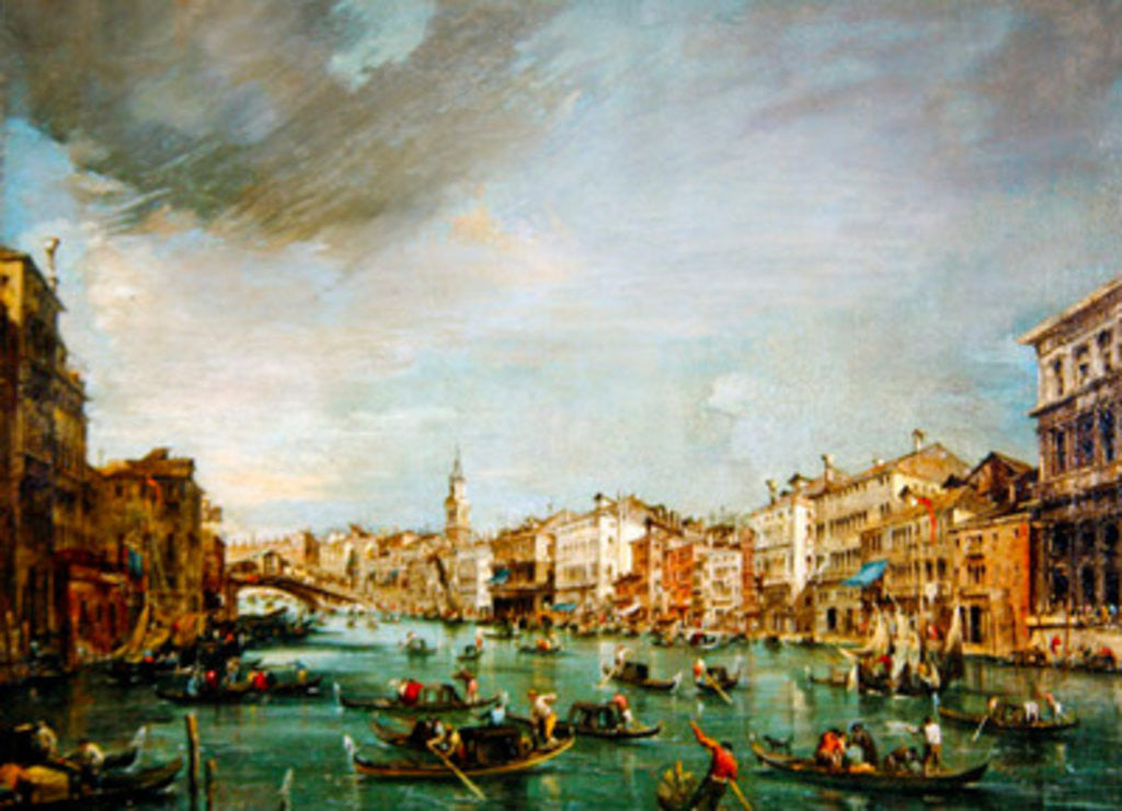 Detail of View of the Grand Canal, Venice, looking towards the Rialto by Francesco Guardi