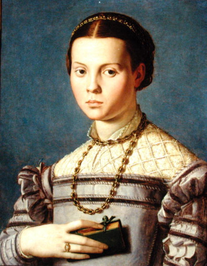 Detail of Portrait of a Young Girl Holding a Book by Agnolo Bronzino