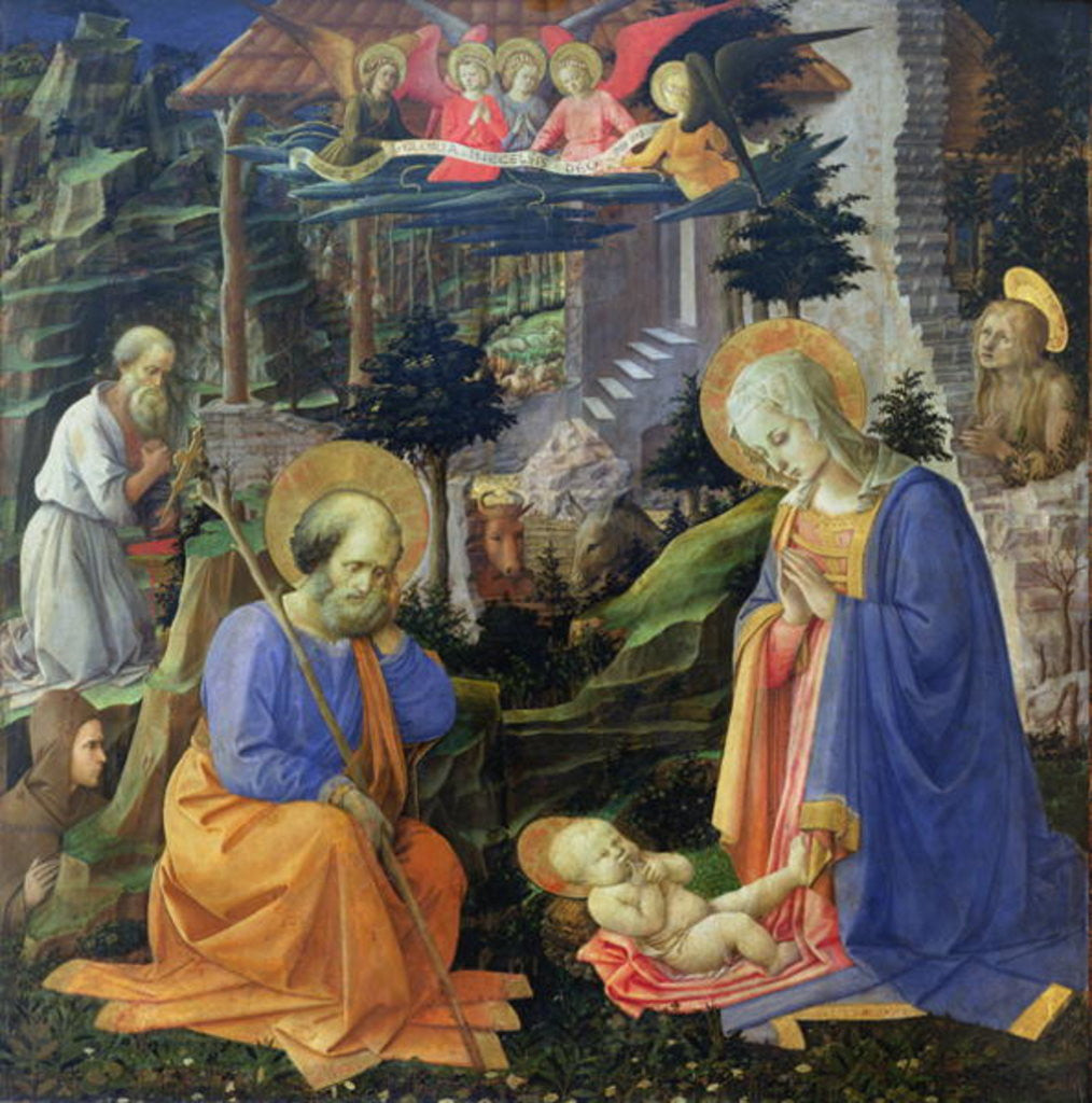 Detail of Adoration of the Child with SS. Hilary, Jerome, Mary Magdalene and Angels by Fra Filippo Lippi