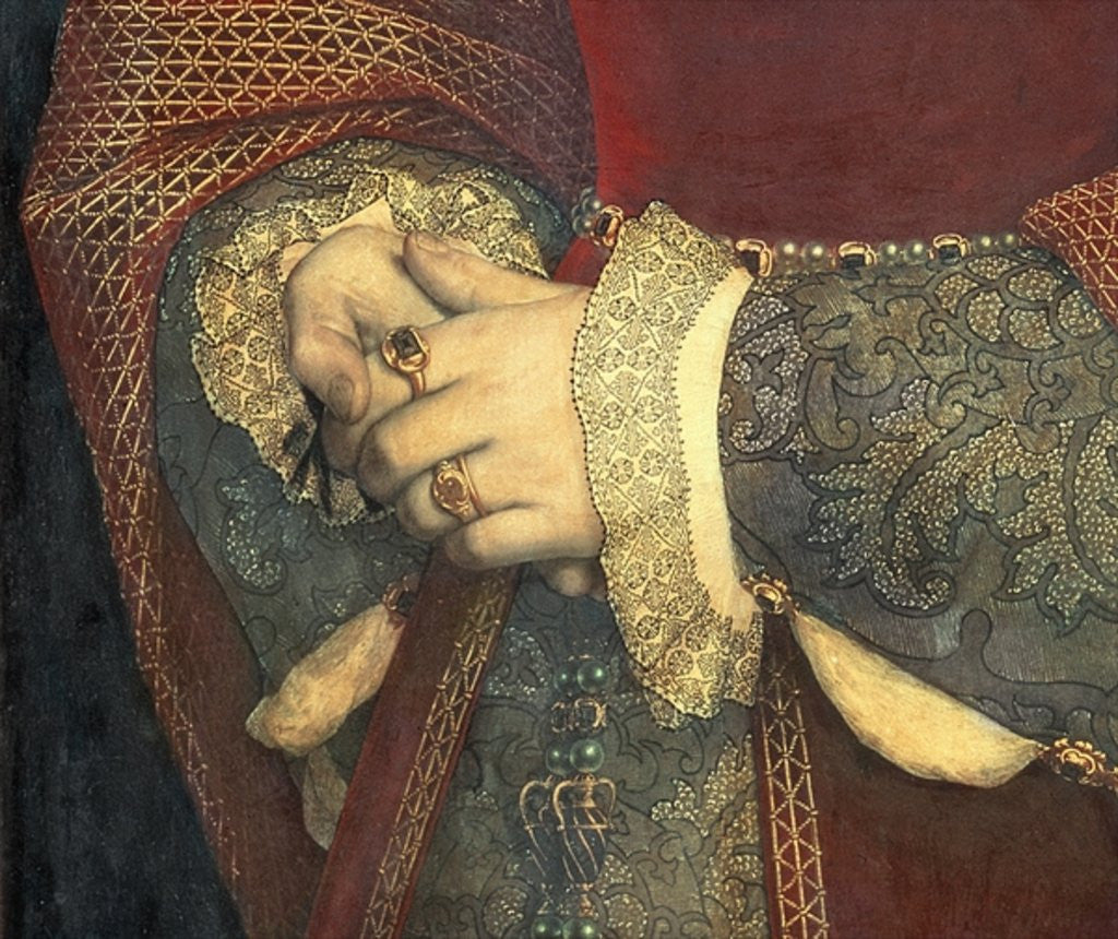 Detail of Portrait of Jane Seymour by Hans Holbein The Younger