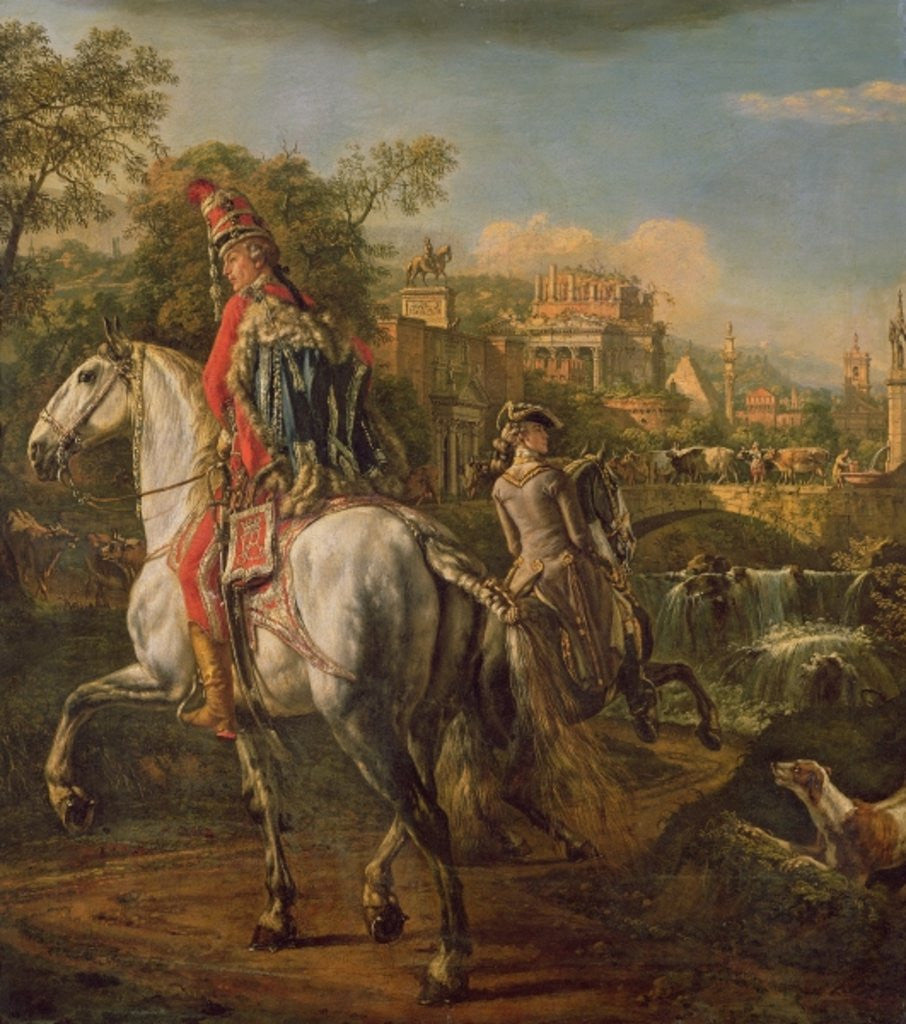 A Hussar on horseback by Bernardo Bellotto