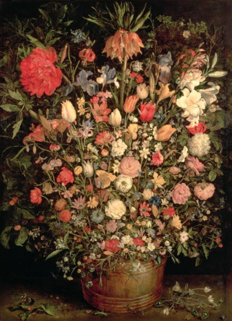 Large bouquet of flowers in a wooden tub posters & prints by Jan the ...