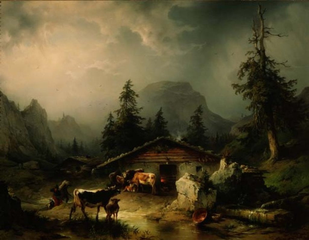 Detail of Alpine hut in Rainy Weather by Friedrich Gauermann