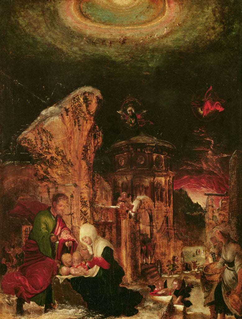 Detail of Birth of Christ (Holy Night) by Albrecht Altdorfer