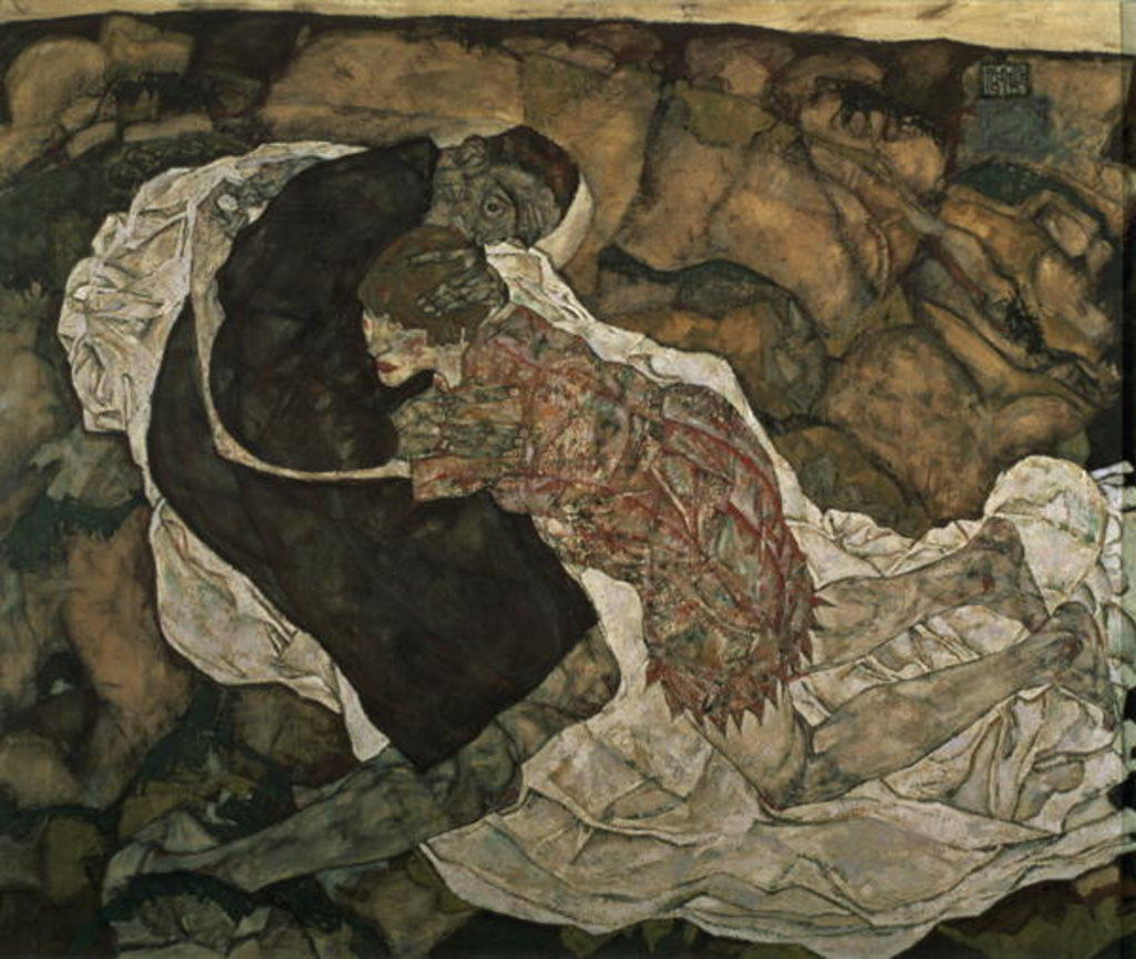 Detail of Death and the Maiden (Mann und madchen) by Egon Schiele