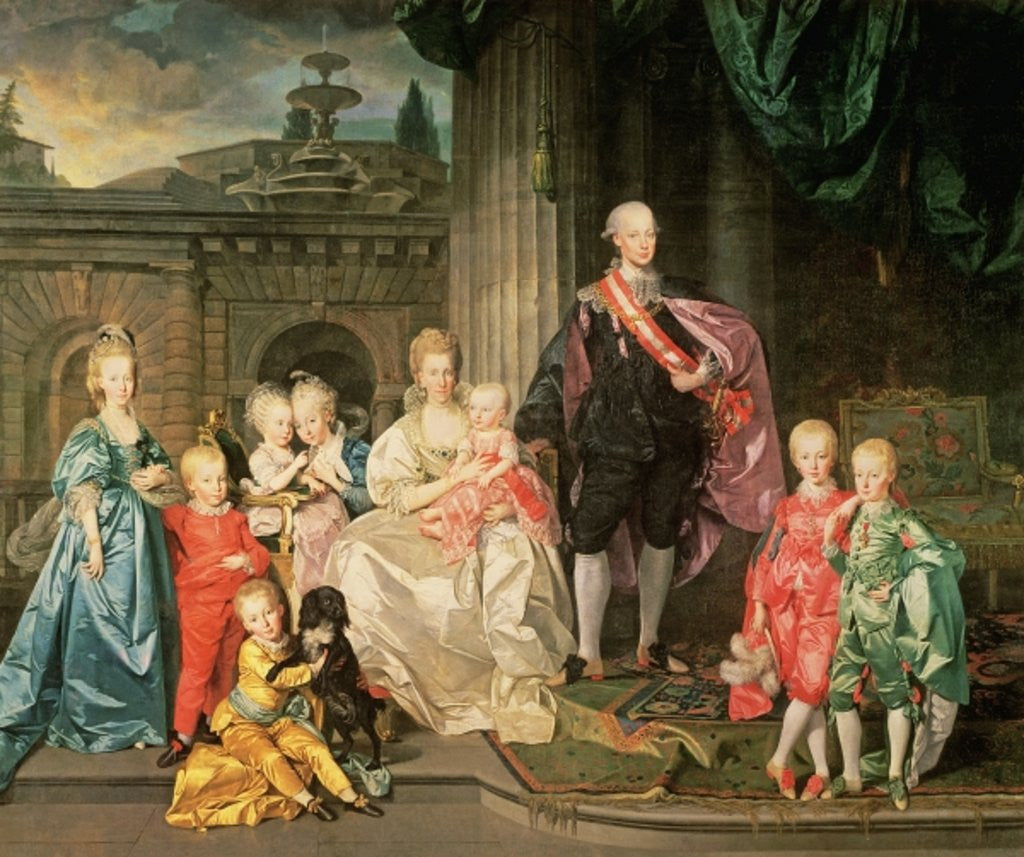Detail of Leopold I, Grand-duke of Tuscany with his wife Maria Ludovica and their children by Johann Zoffany