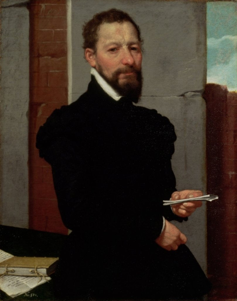 Detail of Giovanni Pietro Maffeis, Professor of Rhetoric at Genoa University and Secretary of the Republic by Giovanni Battista Moroni