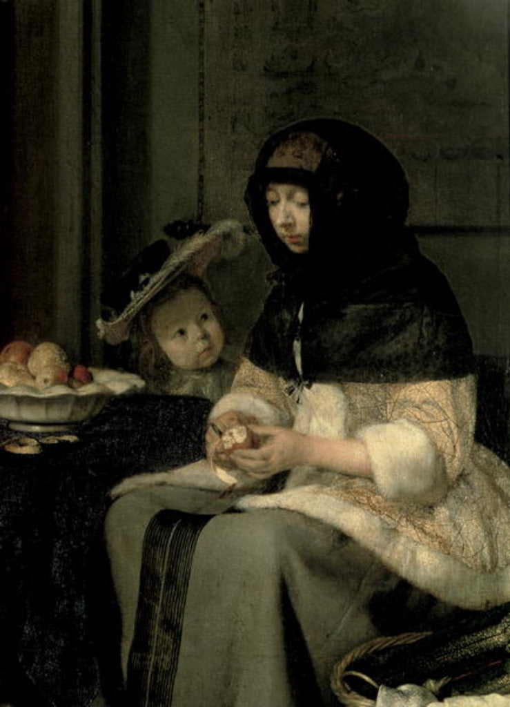 Detail of The Apple Peeler by Gerard ter Borch or Terborch