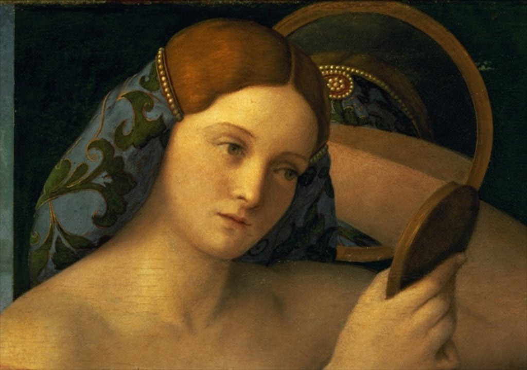 Detail of Young Woman at her Toilet, detail of the face by Giovanni Bellini