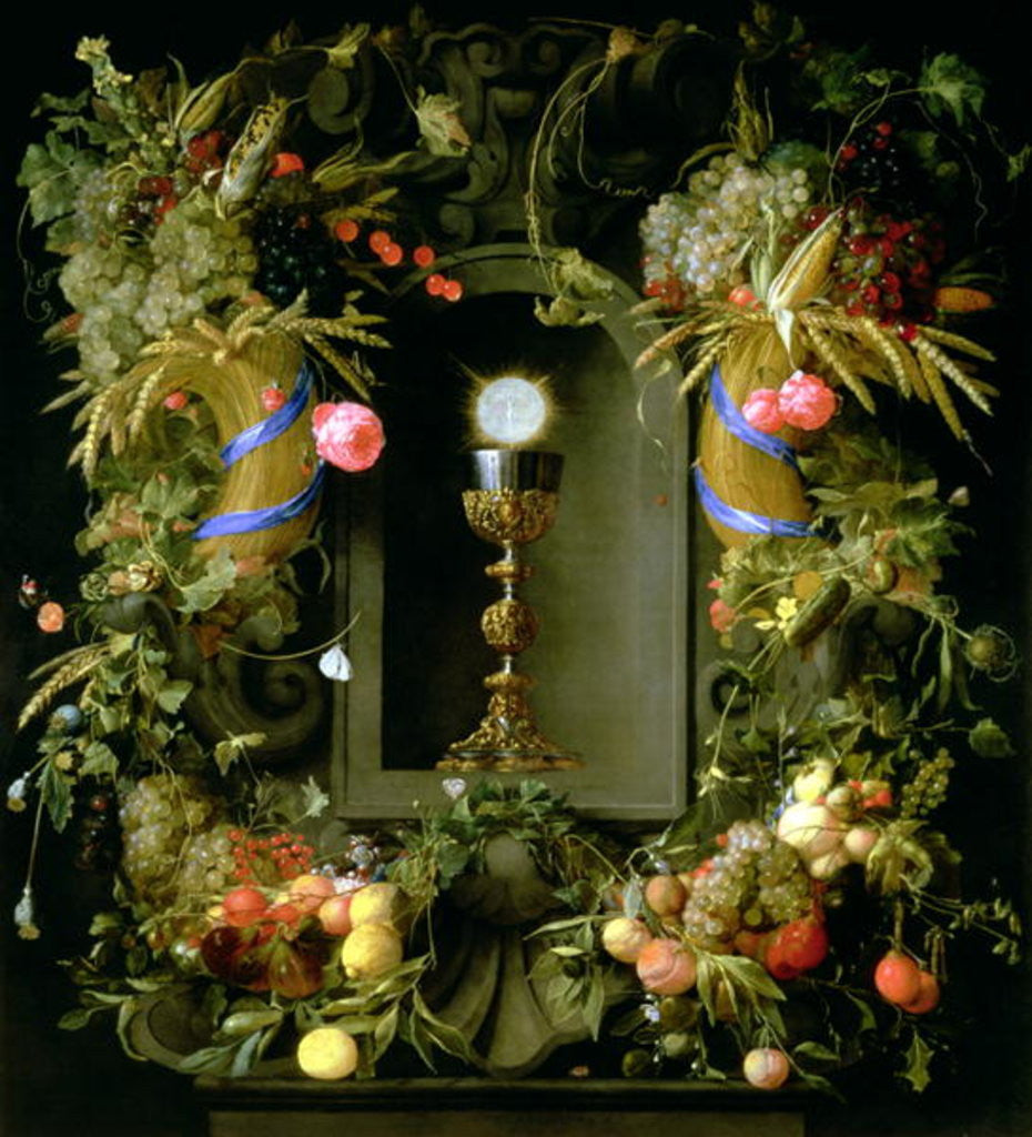 Detail of Communion cup and host, encircled with a garland of fruit by Jan Davidsz. de Heem