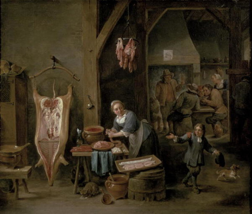 Detail of Sausage-making by David the Younger Teniers