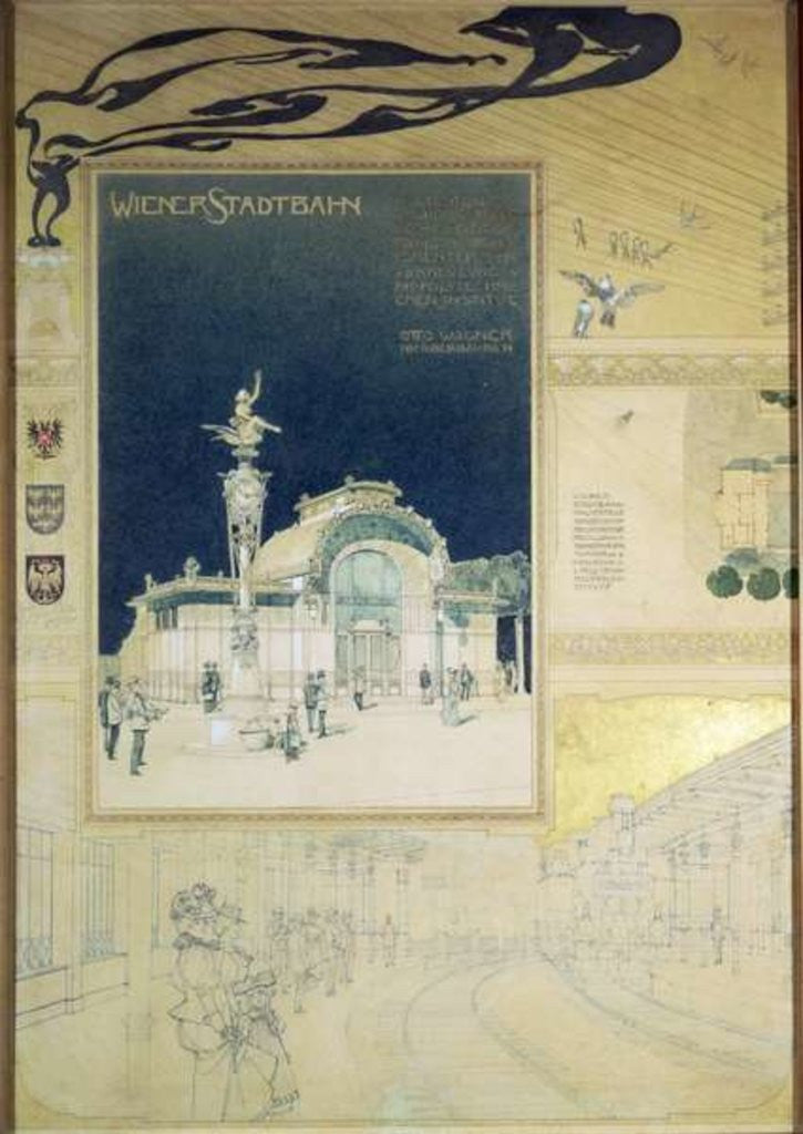 Detail of The Stadtbahn Pavilion of the Vienna Underground railway by Otto Wagner