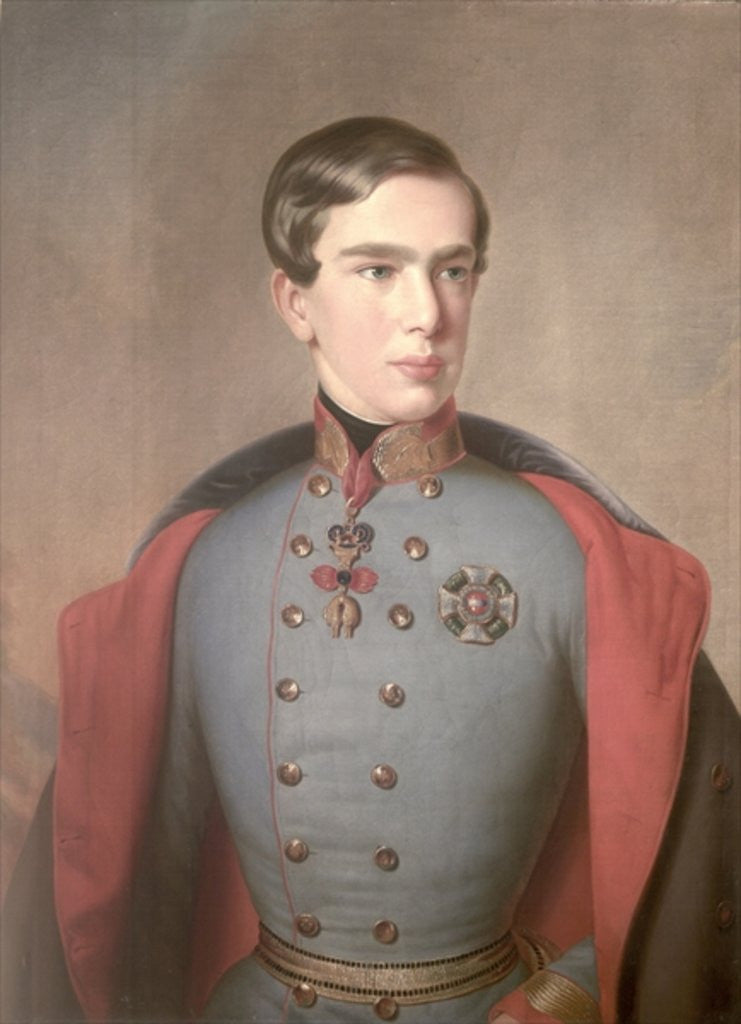 Detail of Portrait of Emperor Franz Joseph of Austria aged 20 by C. Lemmermayer