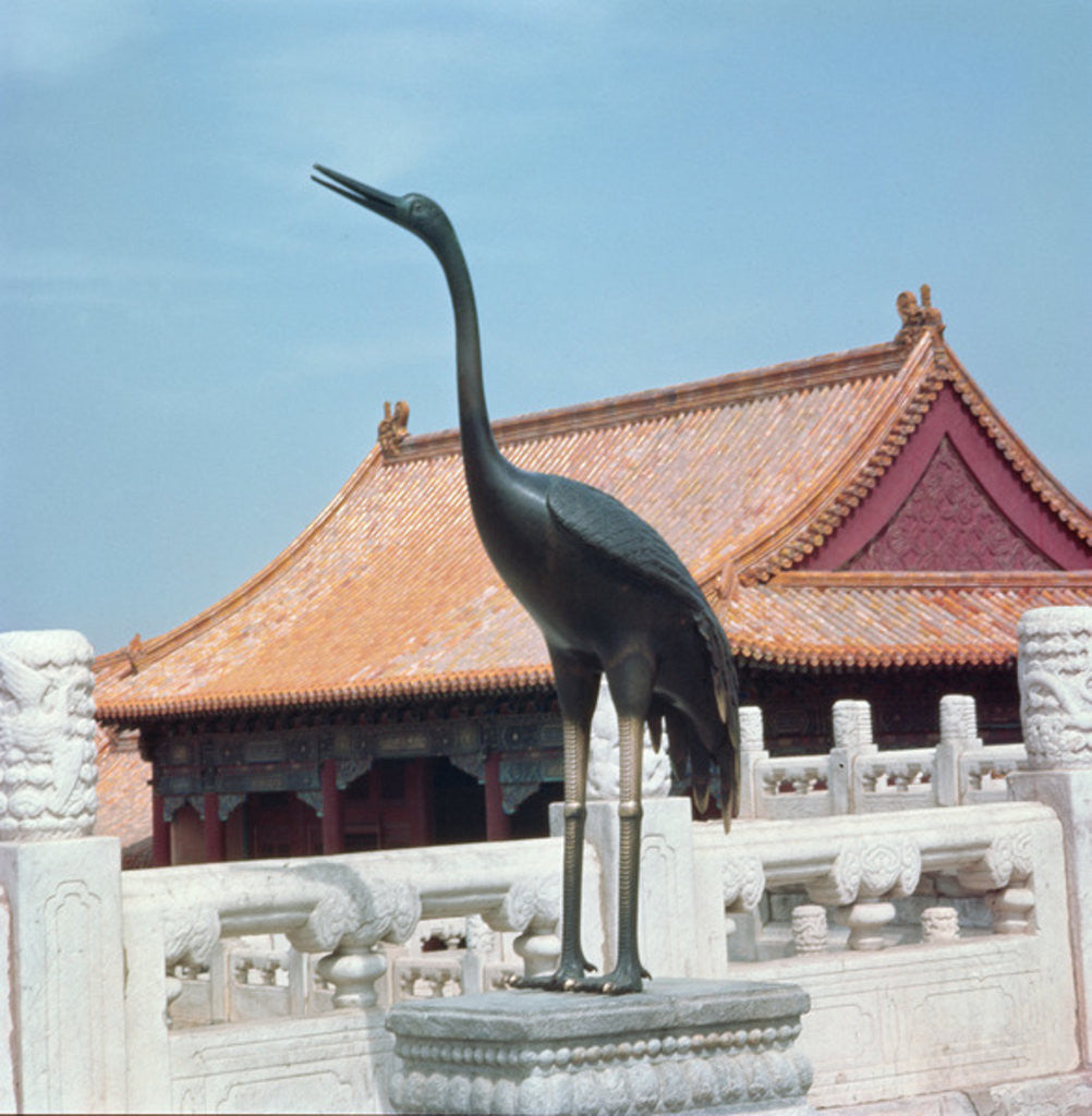 Detail of Statue of a stork with a side pavilion of the Hall of Supreme Harmony in the background by Chinese School
