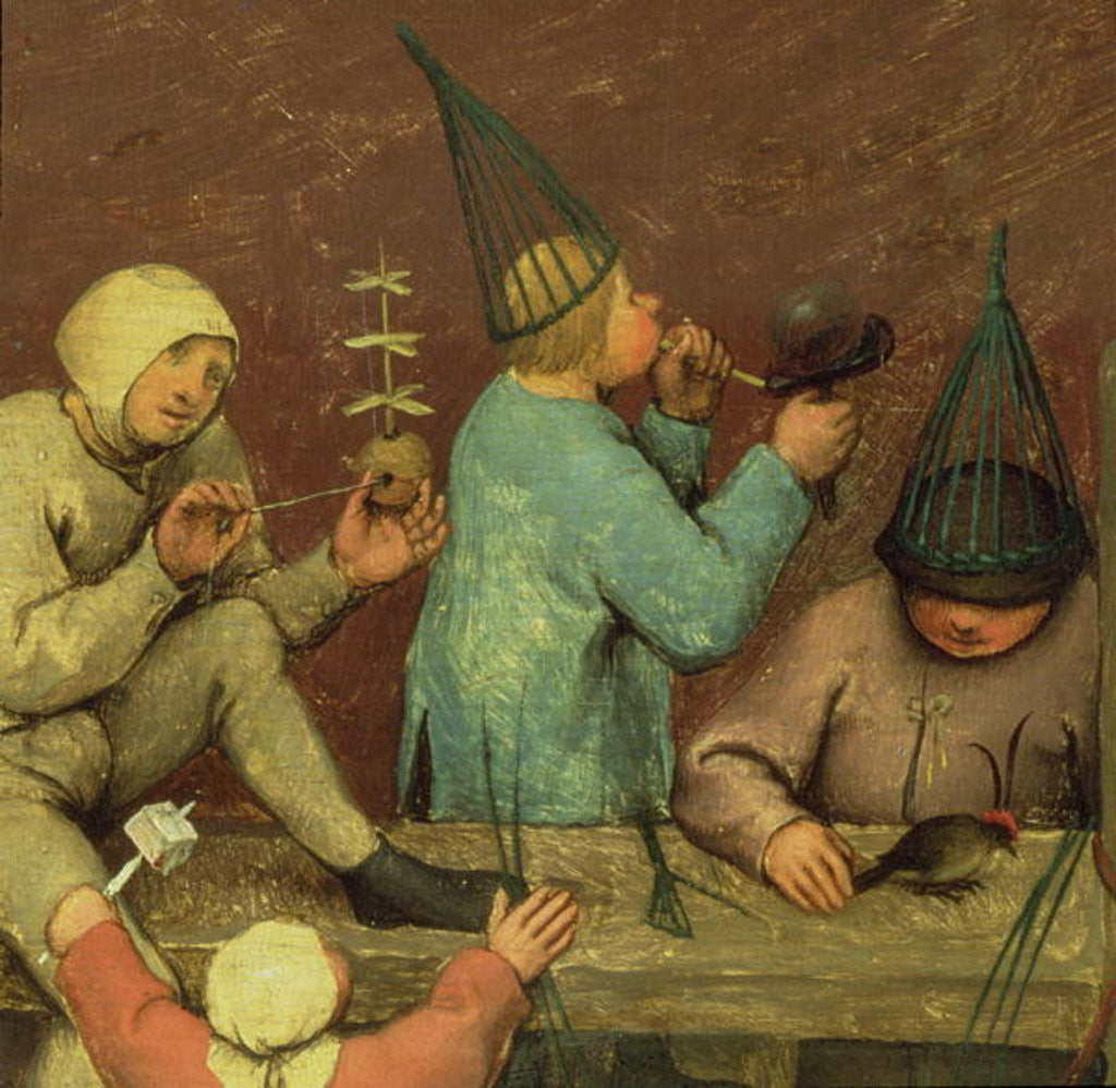 Detail of Children's Games: detail of left-hand section showing children making toys and blowing bubbles by Pieter Bruegel the Elder