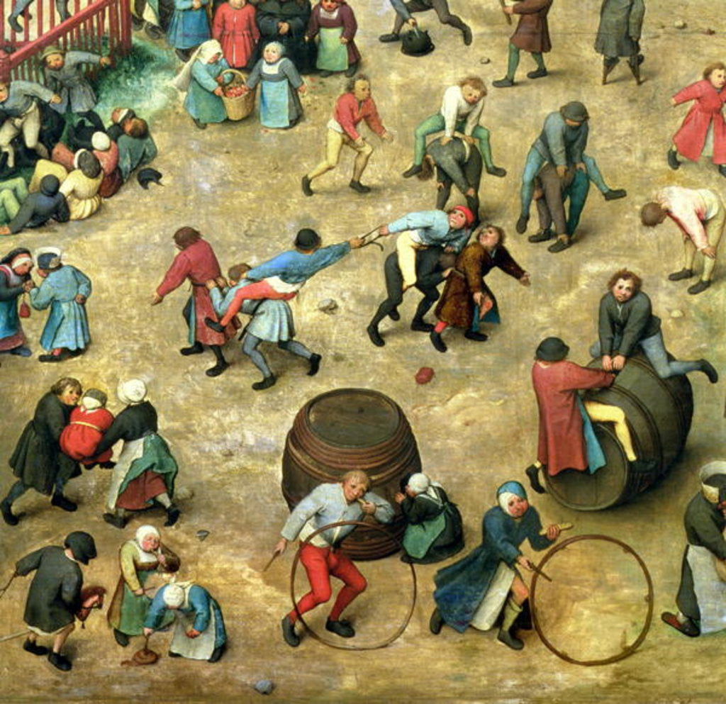 Detail of Detail of bottom section showing various games by Pieter Bruegel the Elder