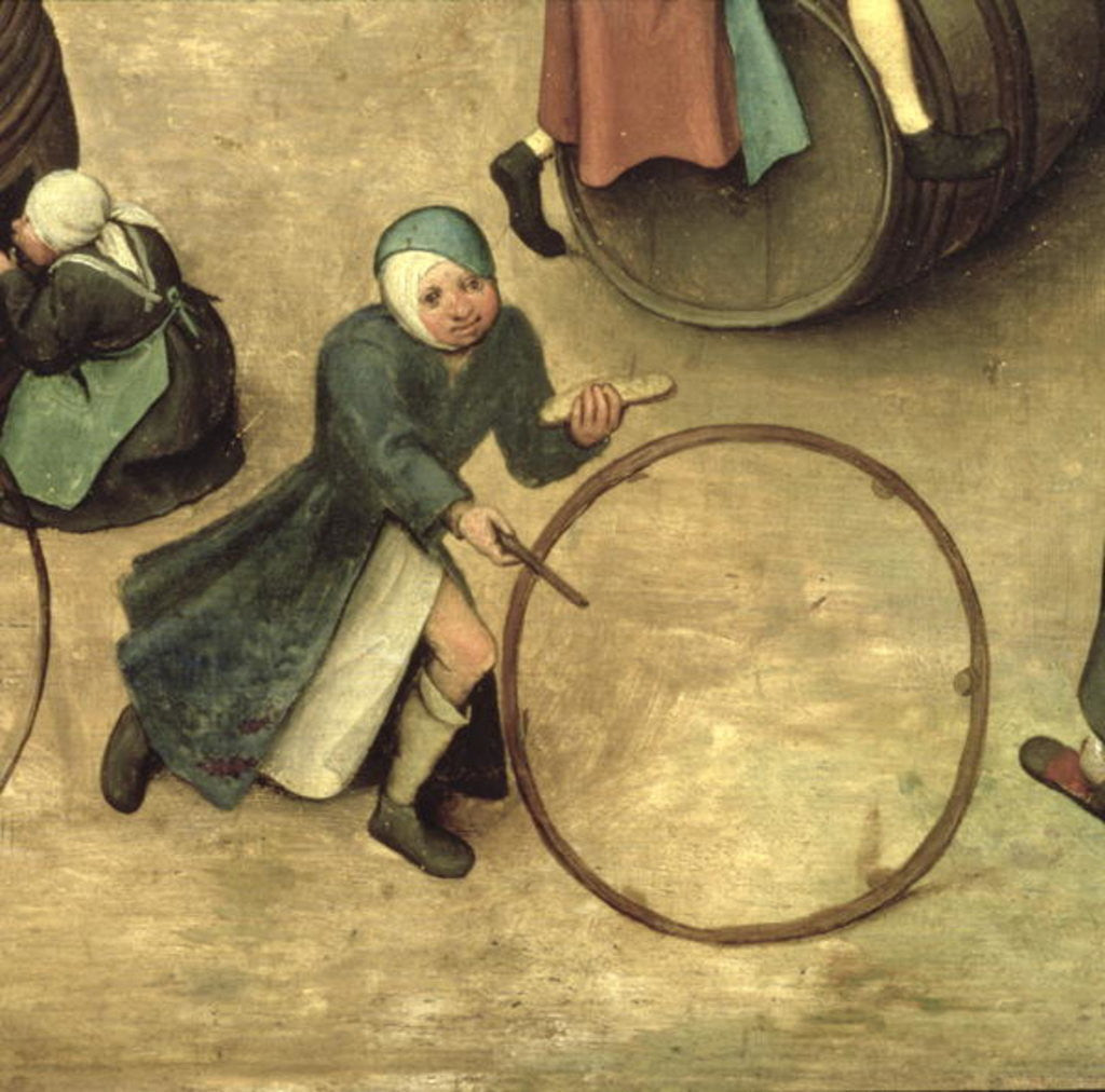 Detail of Children's Games: detail of a child with a stick and hoop by Pieter Bruegel the Elder