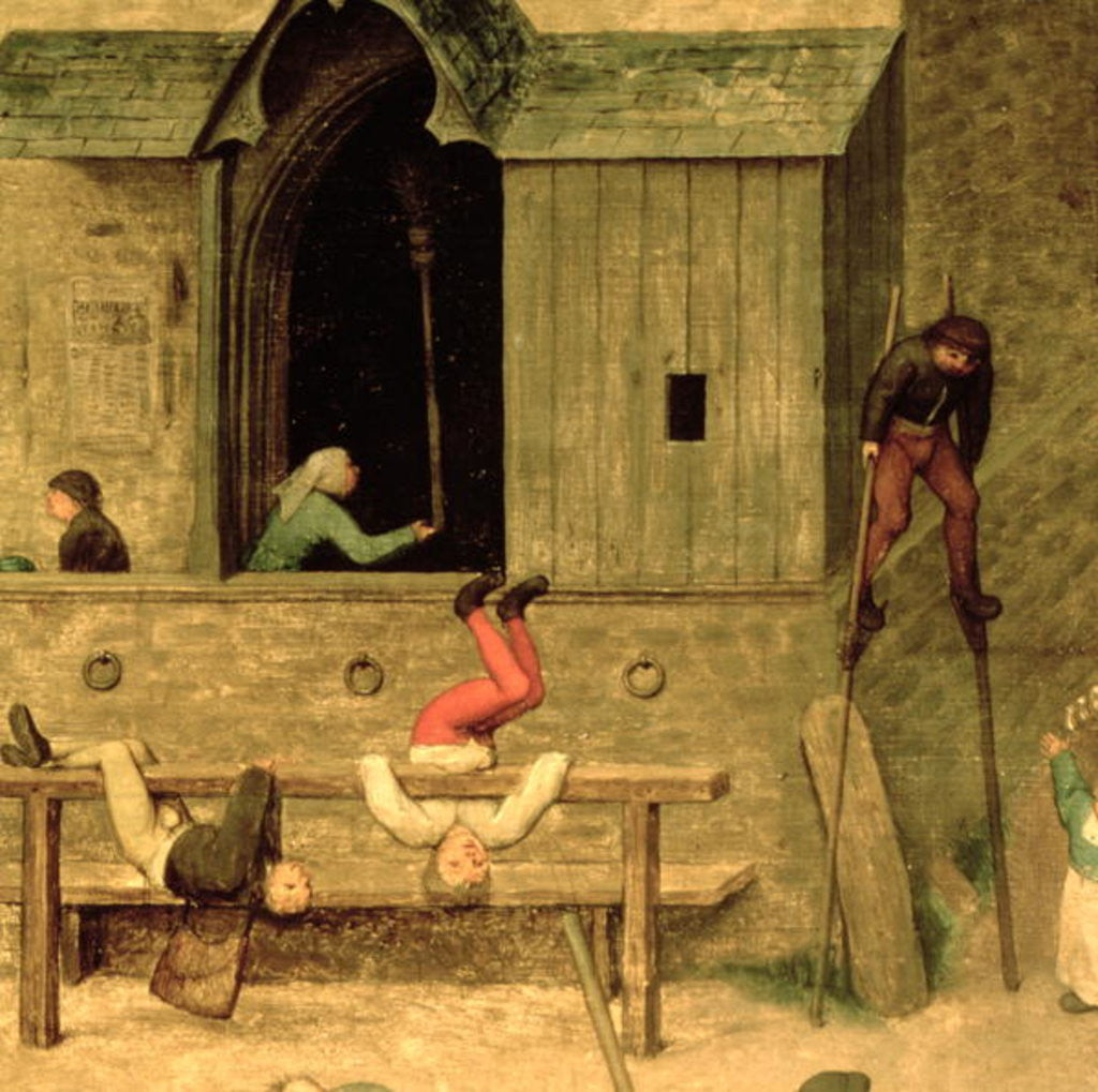 Detail of Detail of a boy on stilts and children playing in the stocks by Pieter Bruegel the Elder