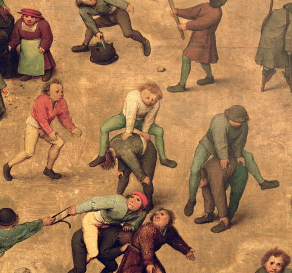 Detail of Detail of children playing leap-frog by Pieter Bruegel the Elder