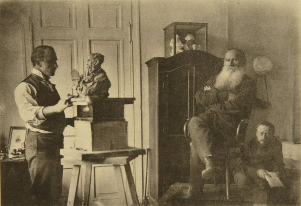 Detail of Leo Tolstoy and the sculptor Prince Paolo Troubetzkoy by Sophia Andreevna Tolstaya