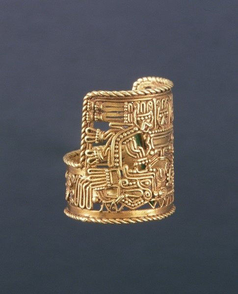 Detail of Puebla-style ring by Mixtec