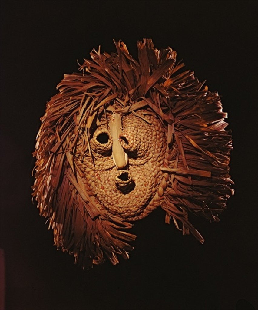 Detail of A Seneca mask used in winter rites by American School