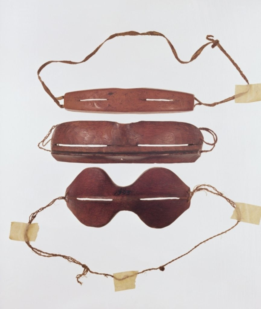 Detail of Inuit sun/snow 'glasses' by Inuit School