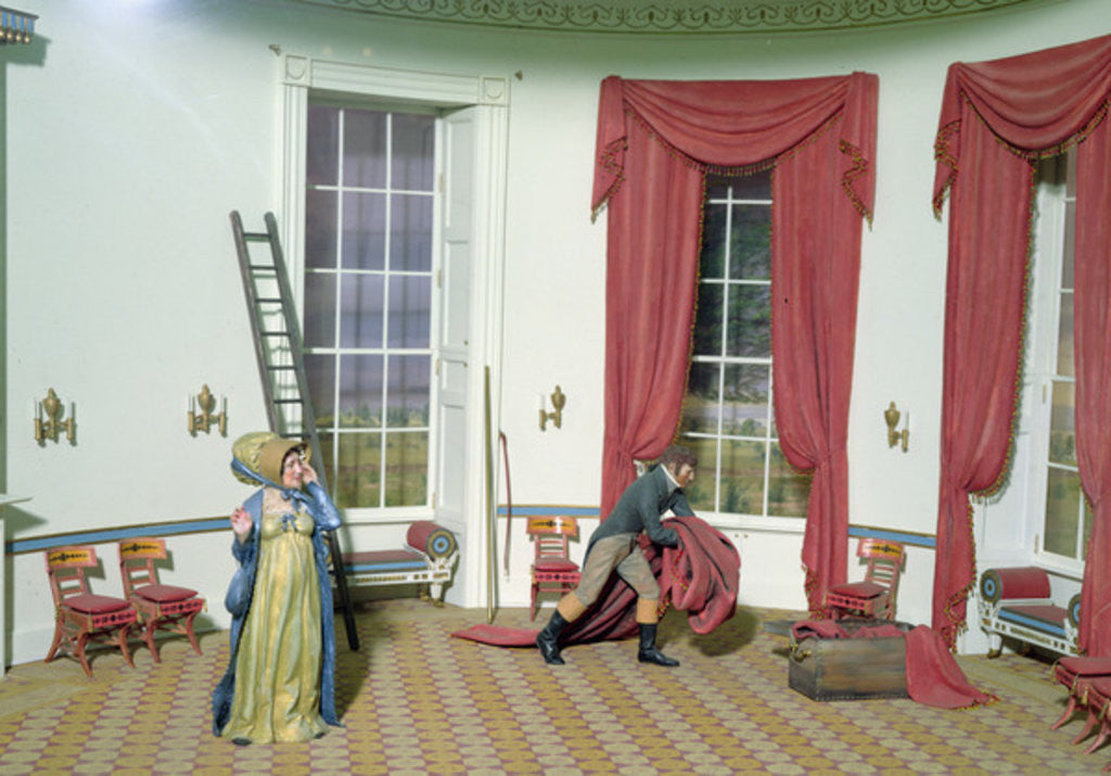 Detail of Dolley Madison removes paintings from the White house by American School