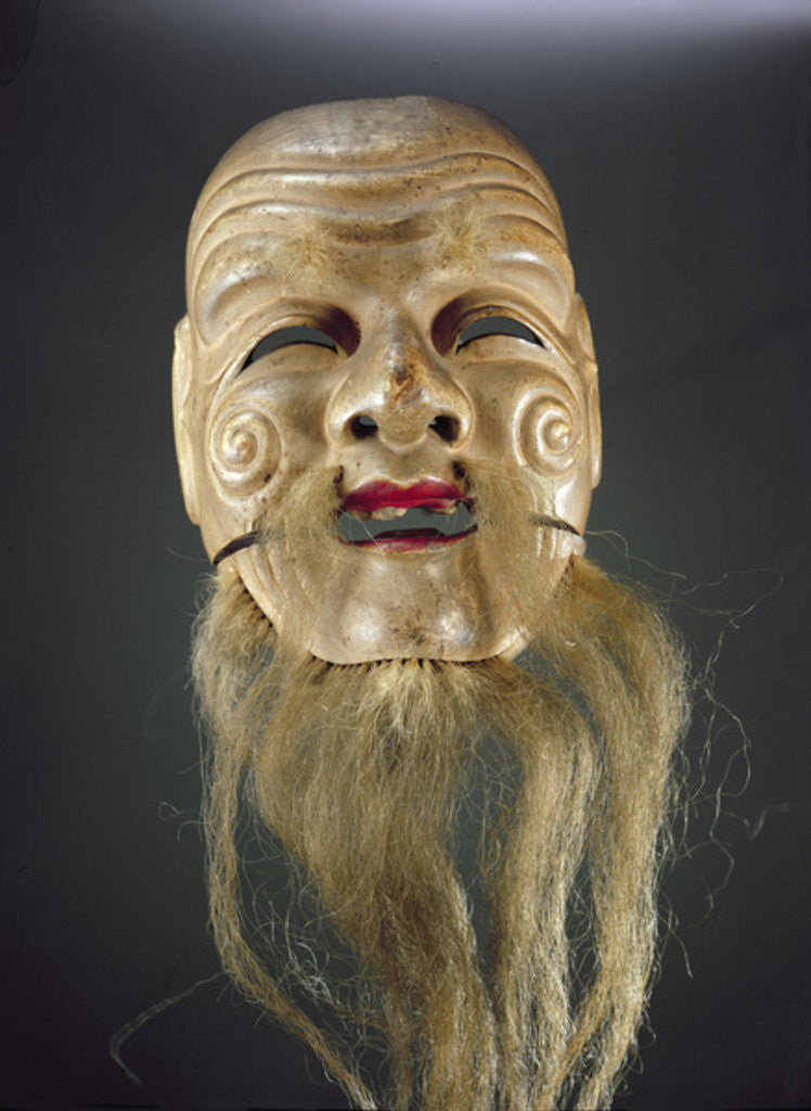 Detail of Old Man Mask, Noh Theatre by Japanese School
