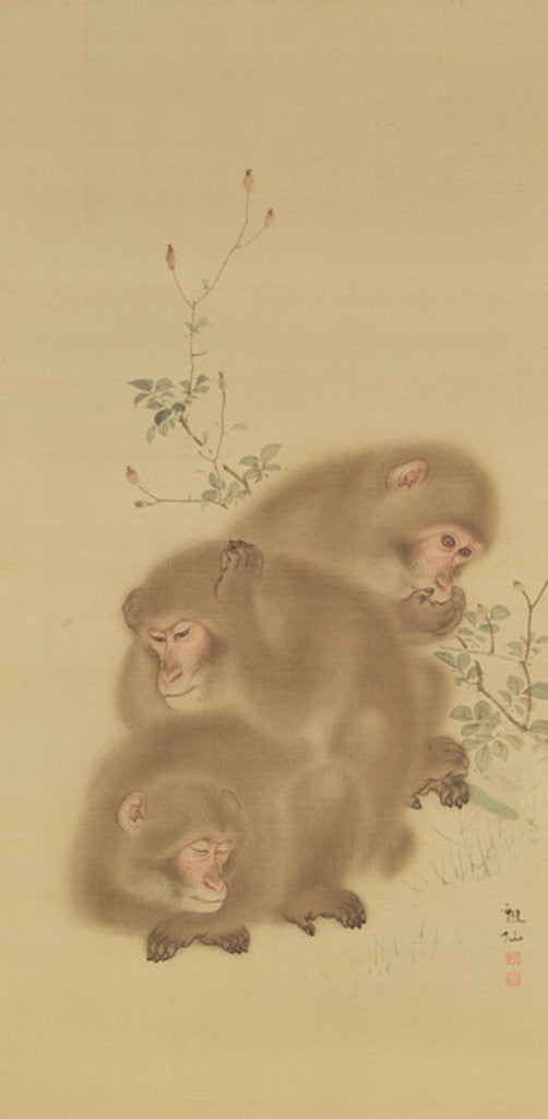 Detail of Baboon Family by Japanese School