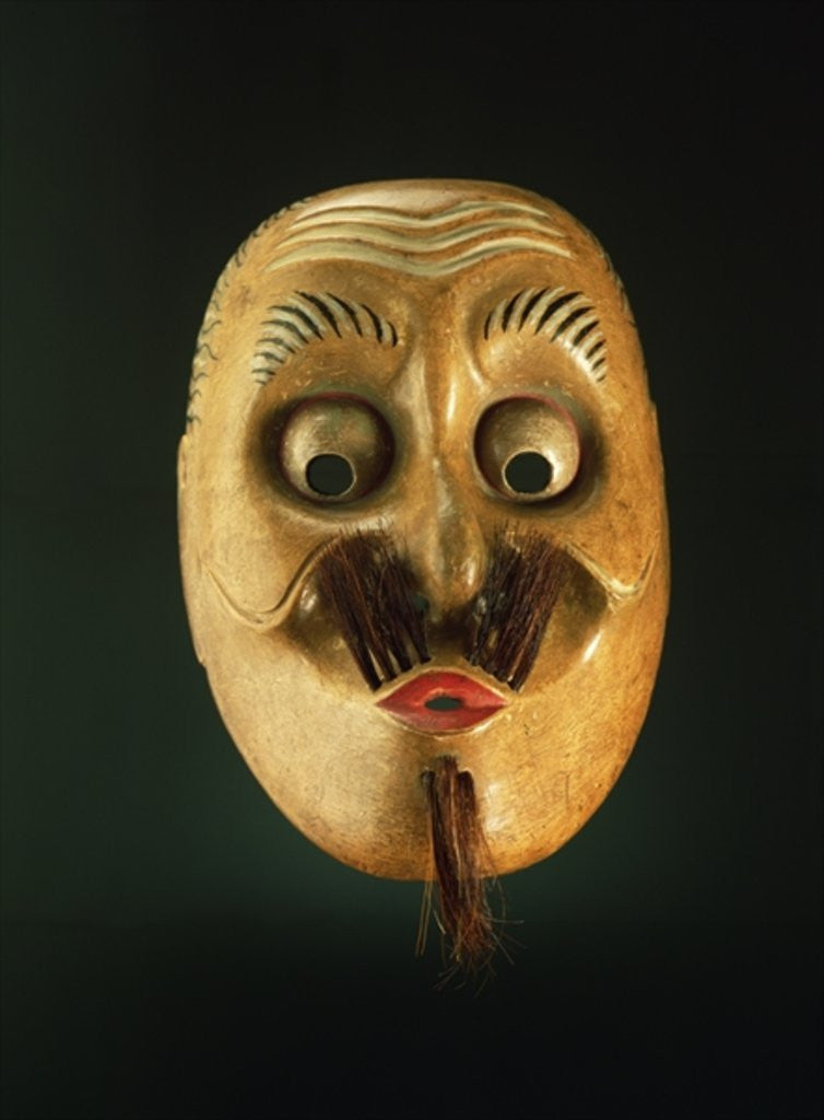 Detail of Comical Mask, Noh Theatre by Japanese School