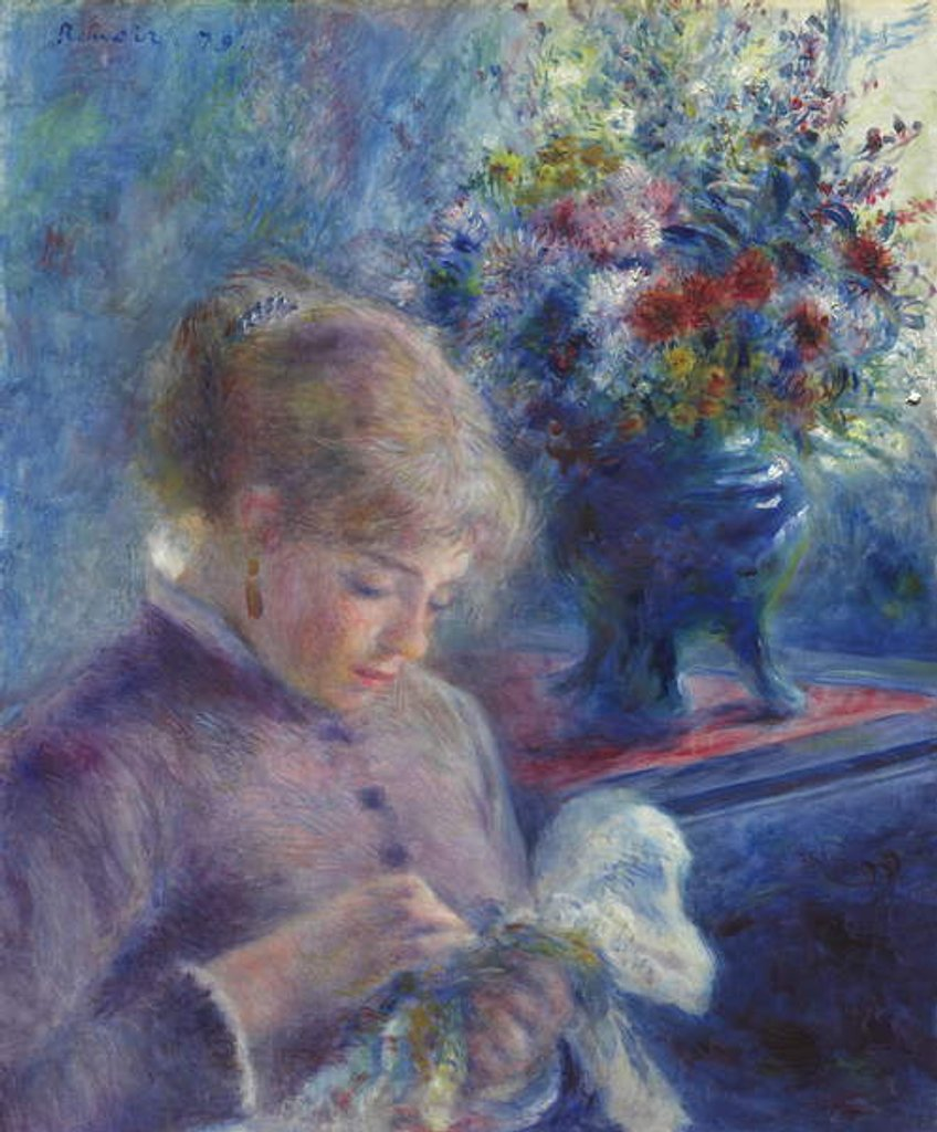 Detail of Young Woman Sewing, 1879 by Pierre Auguste Renoir