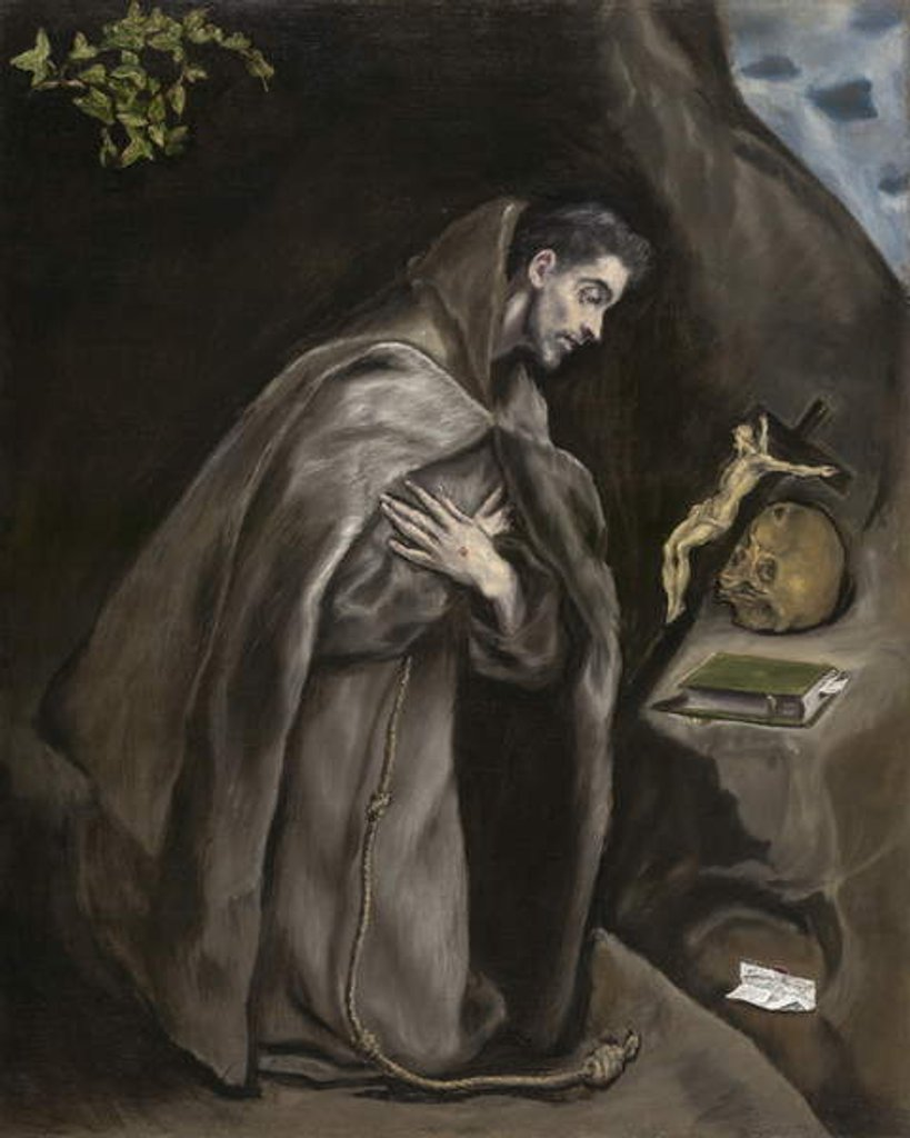 Detail of Saint Francis Kneeling in Meditation, 1595-1600 by El Greco