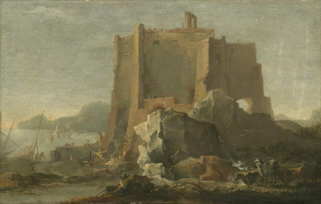 Detail of Landscape with rock and fortress, c.1640-50 by Domenico Gargiulo