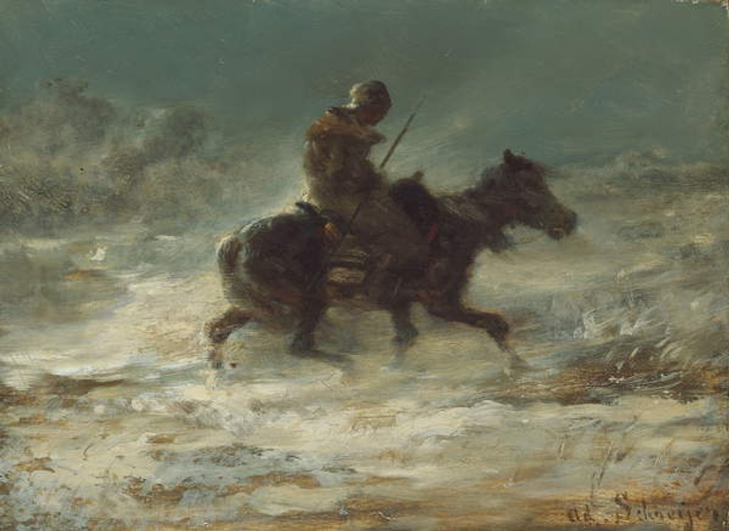 Detail of Man with Lance Riding through the Snow, c.1880 by Adolf Schreyer