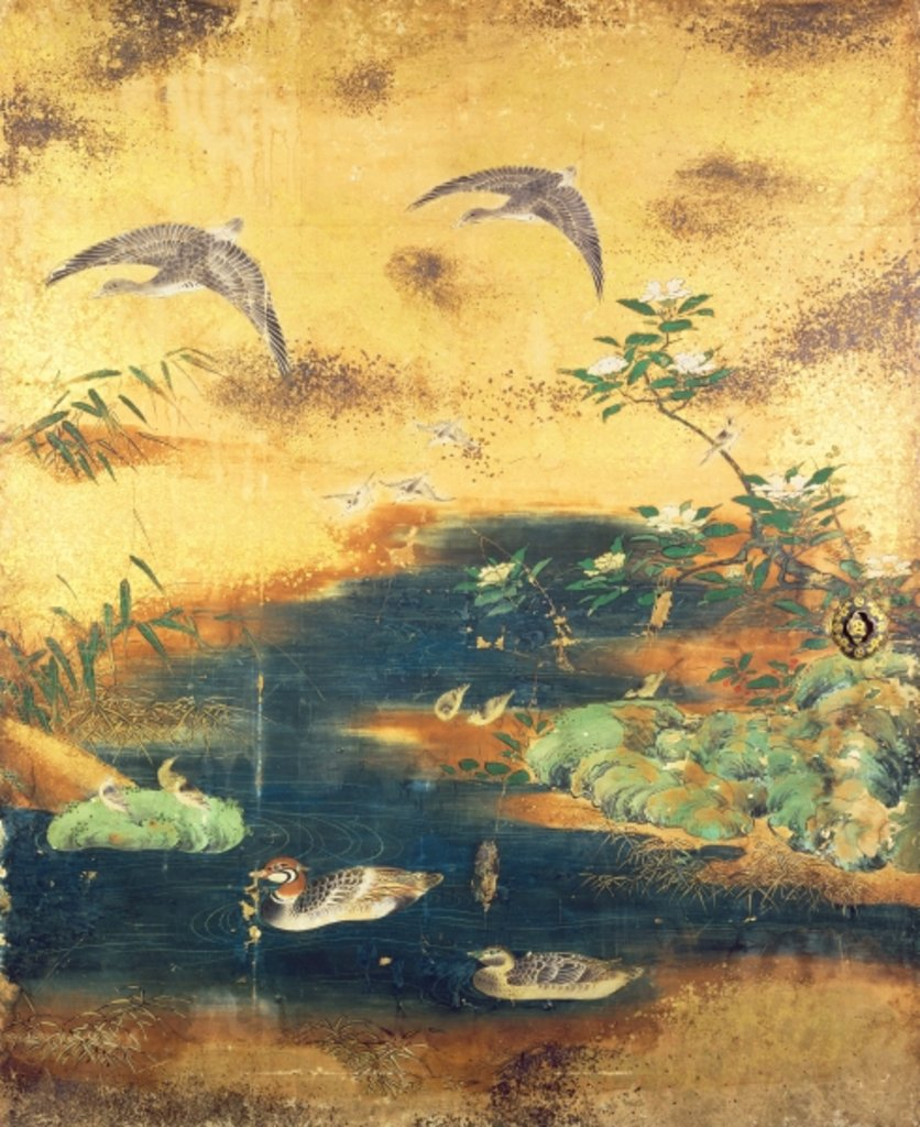 Detail of Birds and flowers sliding-door panel by Japanese School