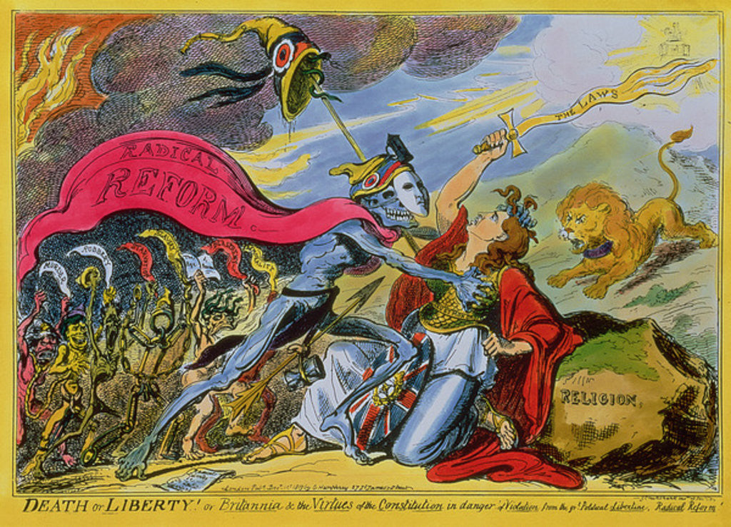 Detail of 'Death or Liberty! or, Britannia and the Virtues of the Constitution in Danger of Violation from the Great Political Libertine, Radical Reform' by George Cruikshank