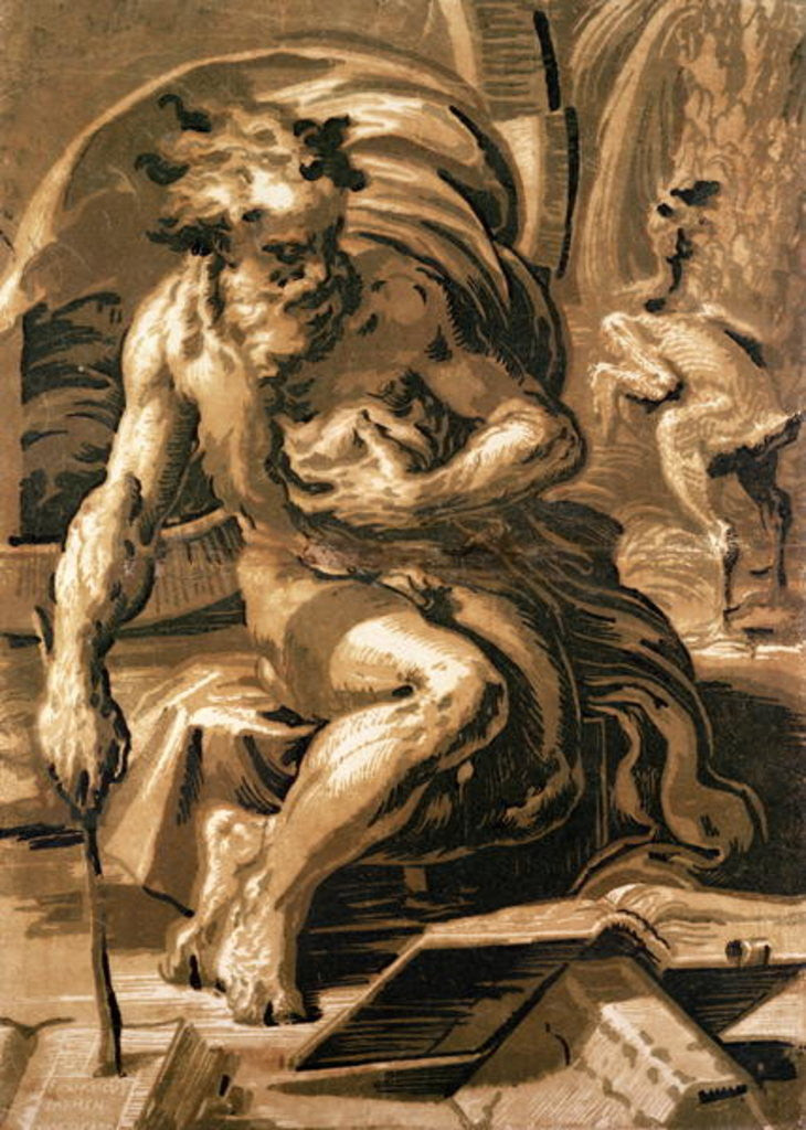 Detail of Diogenes, engraved by Ugo da Carpi by Parmigianino