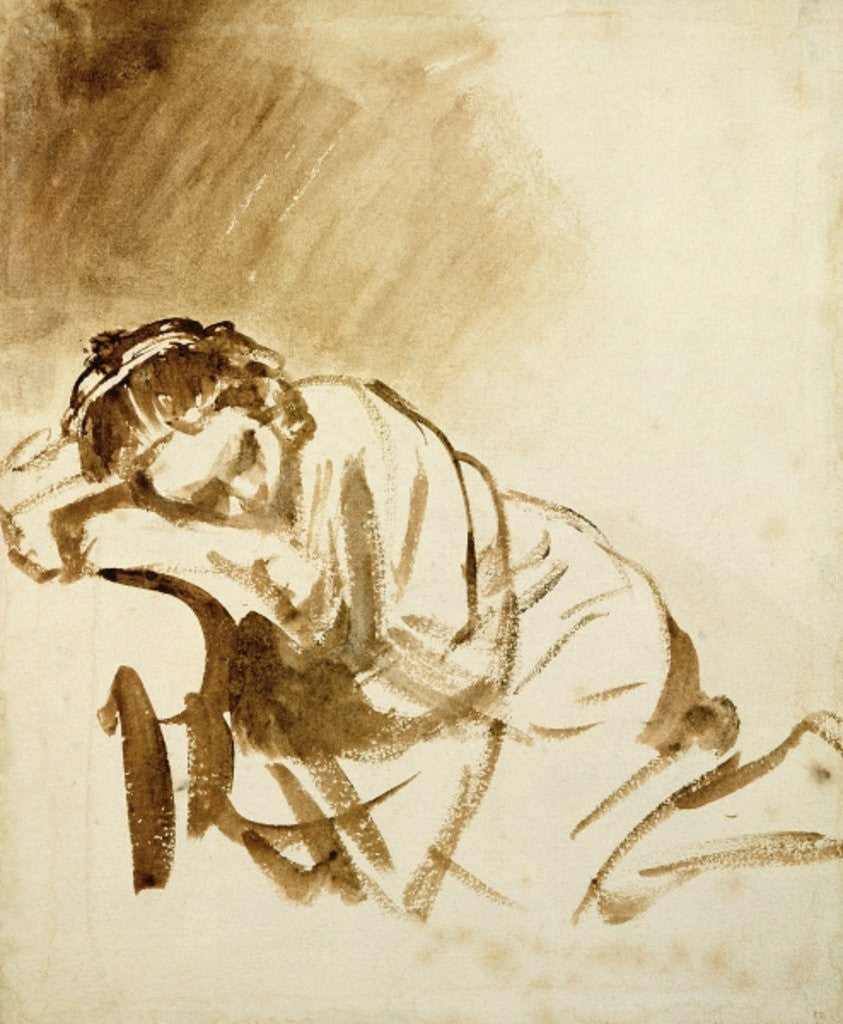 Detail of A Young Woman Sleeping (Hendrijke Stoffels) by Rembrandt Harmensz. van Rijn