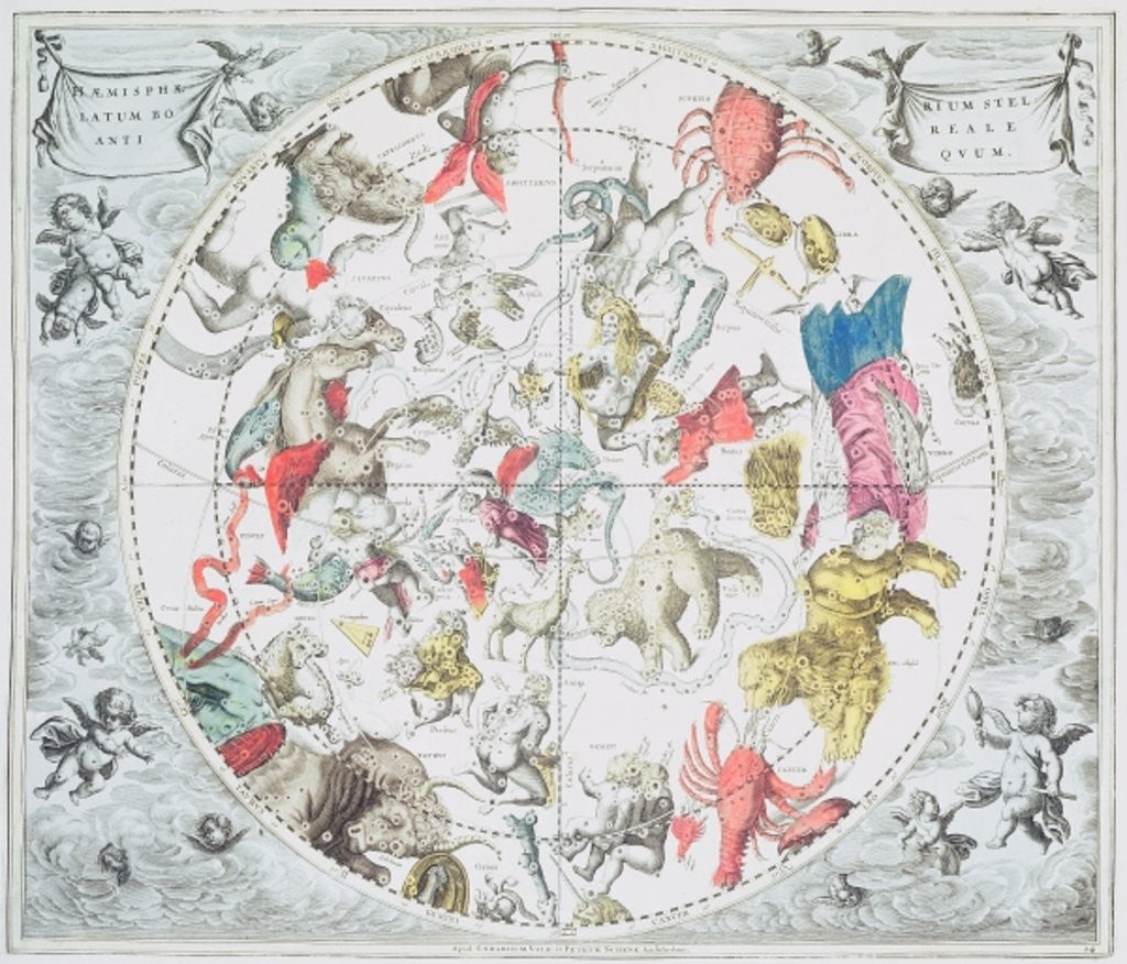 Detail of Celestial Planisphere Showing the Signs of the Zodiac by Andreas Cellarius