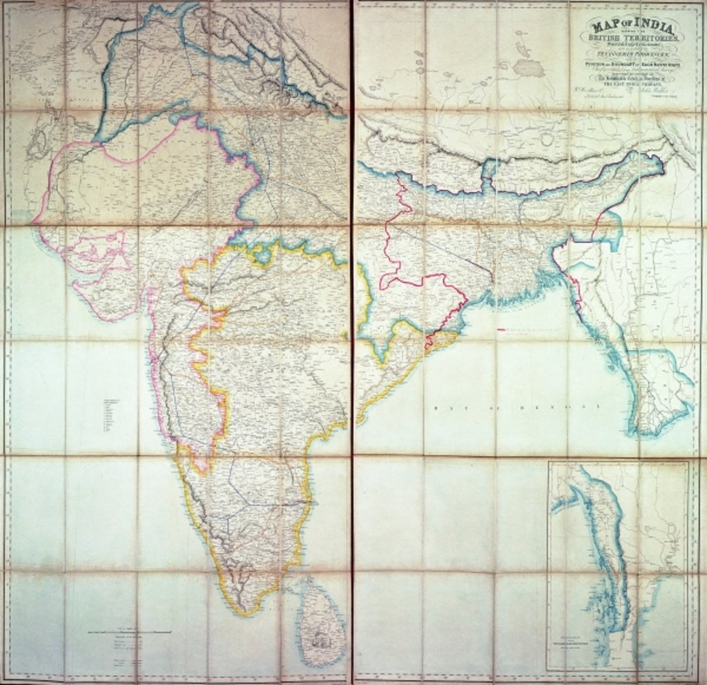 Detail of Map of India by English School