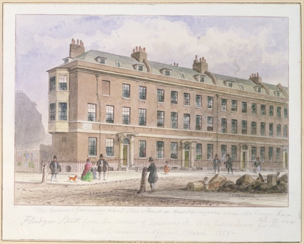 Detail of View of Fludyer Street looking towards Parliament Street by Thomas Hosmer Shepherd